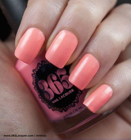365 Lacquer non-toxic vegan nail polish. Anthias - Neon coral