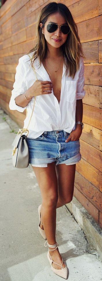 MGEMI 'Brezza' flats |  AMERICAN EAGLE button up shirt |  VINTAGE LEVIS shorts |  CHLOE 'Drew' bag |  RAY BAN large aviators