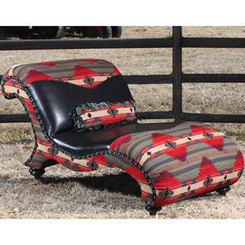 Relax in a blaze of color with thebeautiful Navajo Fire Double Chaise Lounge. This comfortable curving chaise, whichreflects a definite southwestern style,is sure tobe the most popular piece of furniture in  your ranch house living room. Spice up your living area with this wonderful desert southwest ch...