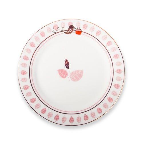 Cake plate vogel roze - Bloemetjes & zo - www.lotsofballoons.com