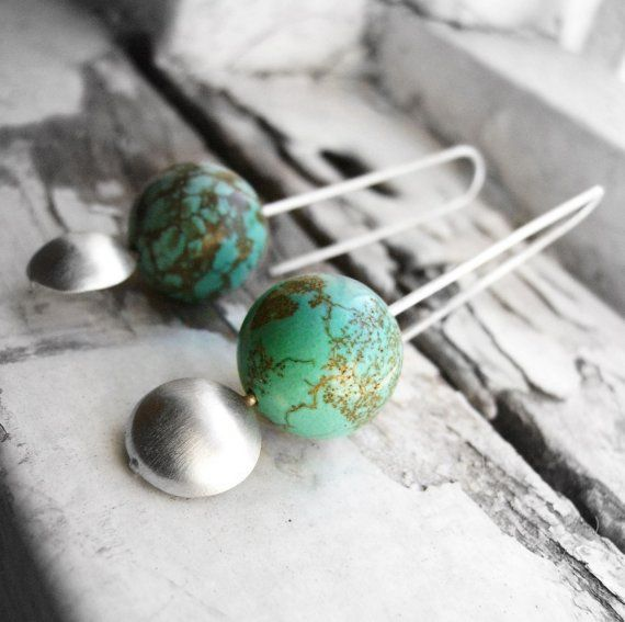 Geometric earring made of Sterling Silver turquoise Magnesite gemstone Forged…