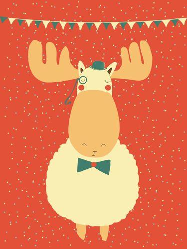 Eland print - Pimpelpluis - https://www.facebook.com/pages/Pimpelpluis/188675421305550?ref=hl - (nursery print illustration kids children art poster dieren kinderen cute illustratie hoed animal moose eland vlaggetjes)