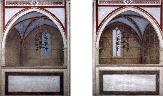 GIOTTO, i due coretti della Cappella degli Scrovegni, unica opera nella quale Giotto utilizza la prospettiva matematica e non quella intuitiva.