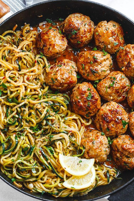 Garlic Butter Meatballs with Lemon Zucchini Noodles - This easy and nourishing skillet meal is absolutely fabulous in every way imaginable! Garlic Butter Meatballs with Lemon Zucchini Noodles - This easy and nourishing skillet Health Dinner, Ground Turkey Recipes, Ground Beef Dishes, Healthy Ground Turkey, Lemon Zucchini, Zucchini Noodles, Zucchini Noodle Recipes, Zoodle Recipes, Keto Noodles