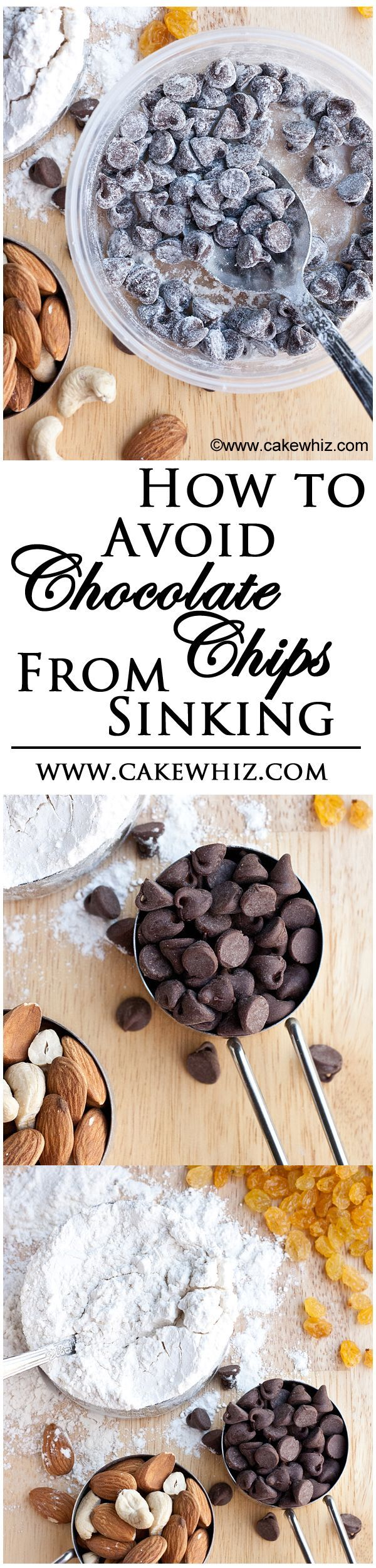This neat little baking tip shows you how to AVOID chocolate chips (or other add-ins) from ever sinking to the bottom of the cake. From cakewhiz.com