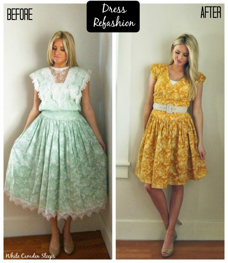 Dress refashion.  She dyed the dress with Rit Dye, then altered it.  Great refashions on this blog.