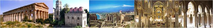 Segesta's Greek temple, San Cataldo Church and Martorana Tower in Palermo, Mt Etna and Taormina's Greek amphitheatre, Palermo's Palatine Cha...