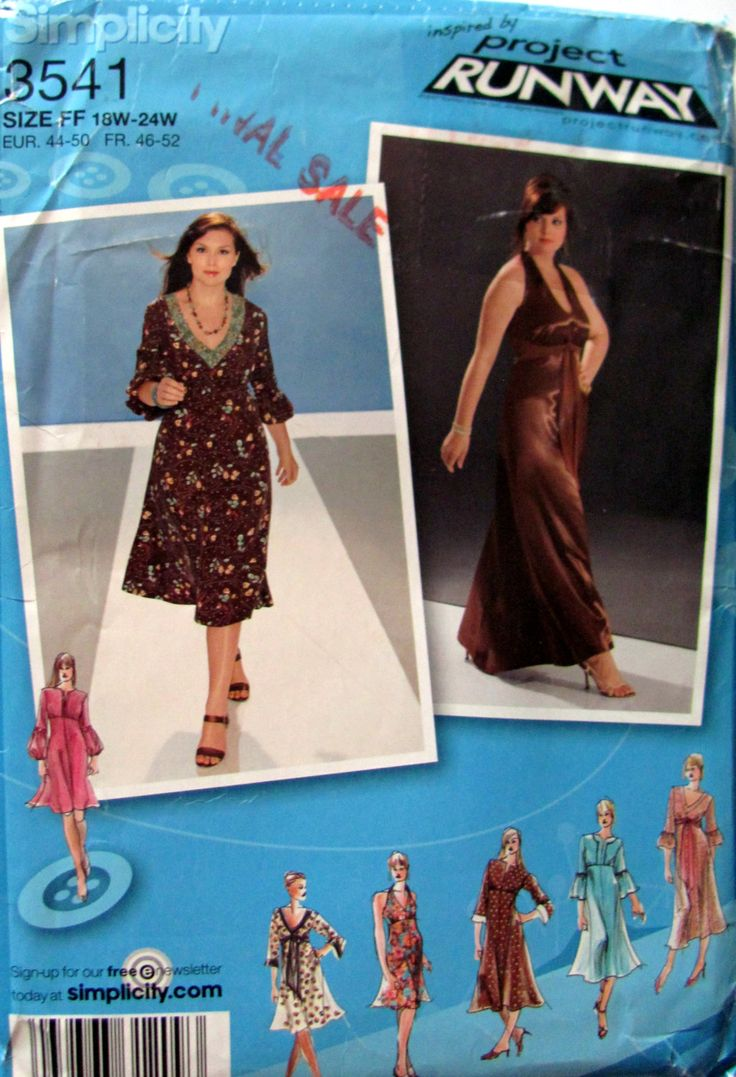 Plus Size Pattern, Simplicity 3541, Women's Petite Plus Size Long or Below The Knee Dress Simplicity Pattern, Sizes 18W, 20W,22W and 24W, by OnceUponAnHeirloom on Etsy