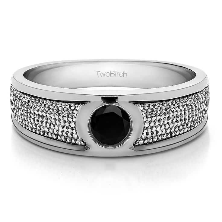 10k White Gold Solitaire Mens Fashion Ring Or Mens Wedding Ring With Black Diamonds (0.25 Cts.) (10k Yellow gold, Size 9.5), Men's (solid)
