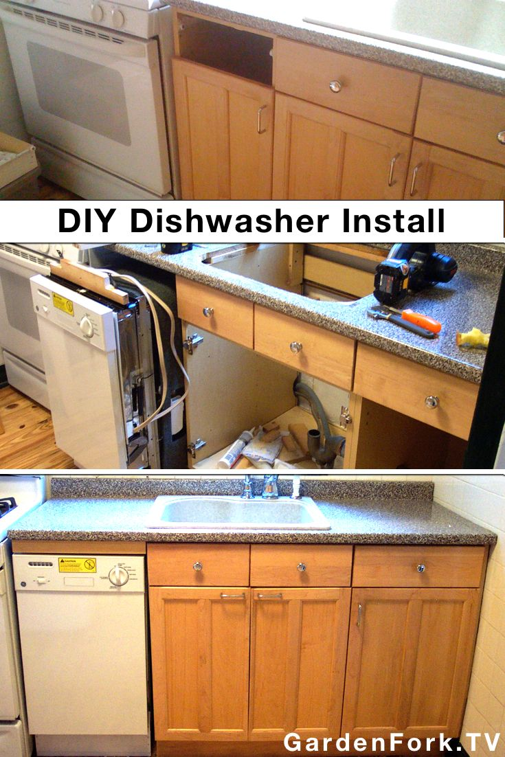 "DIY Dishwasher Installation I did in a small kitchen. I used a small dishwasher 18"" wide for this apartment kitchen. Read here: http://www.gardenfork.tv/custom-diy-dishwasher-installation What was fun was making space in a small kitchen for a dishwasher where there wasn't a space for a dishwasher."
