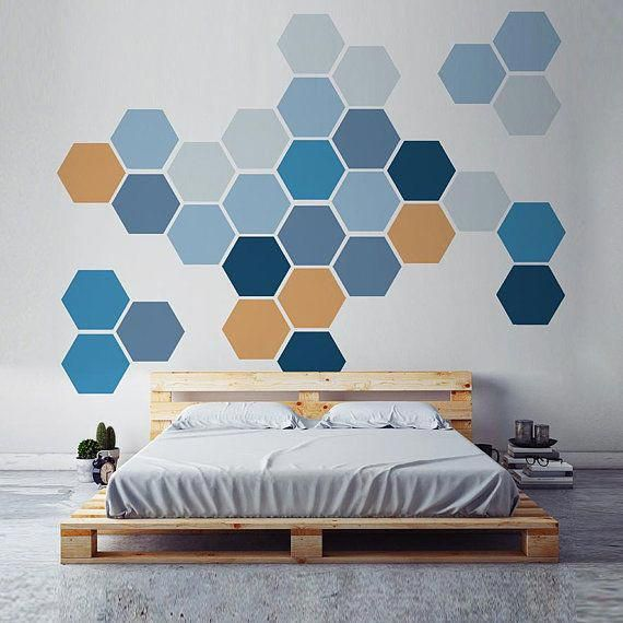 Removable Honeycomb Wall Decal 8 Hexagon Stickers Per Pack Self Adhesive Canvas Art Sticker Geometric Design New House Wall Design Geometric Wall Tape