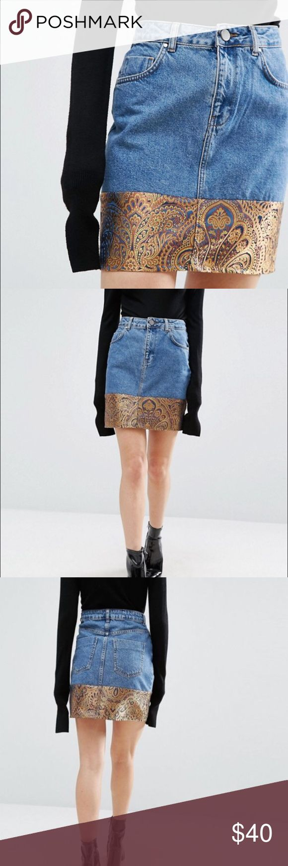 NWT ASOS Denim Mini Skirt with Jacquard Hem Sz 10 New With Tags and in package, ASOS Size 10 Denim, Jacquard Skirt. Matching Top is separate listing. Product Details: Lightweight denim, High-rise waist, Zip fly, Five pocket styling, Contrast jacquard hem, Regular fit - true to size, Machine wash, 100% Cotton. See ASOS Sizing Chart for more precise measurements. ASOS Skirts Mini