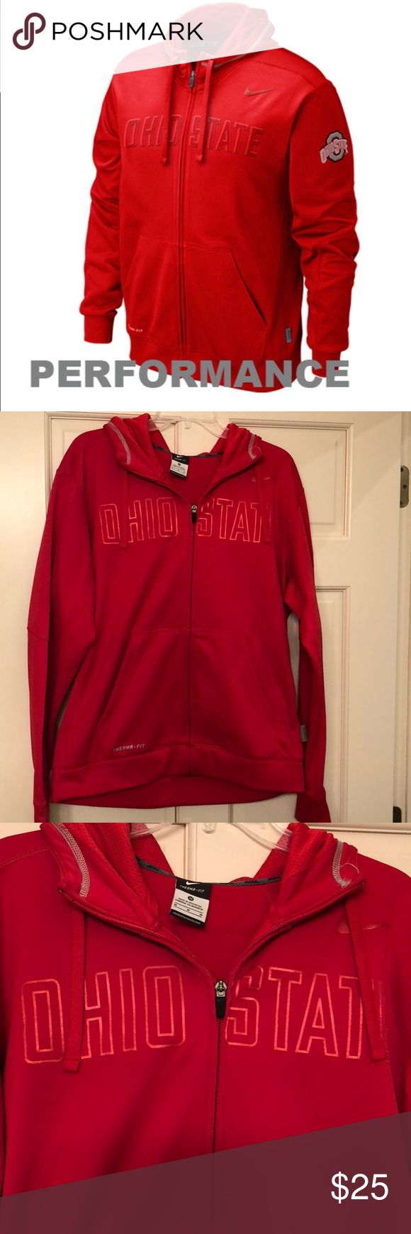 Nike Therma-Fit Ohio State Hoodie Men's Ohio State Nike Therma-Fit Hoodie. NWOT.  New Condition.  Full front zipper. No snags, tears, stains.     Never worn.   Non-smoking home Nike Shirts Sweatshirts & Hoodies