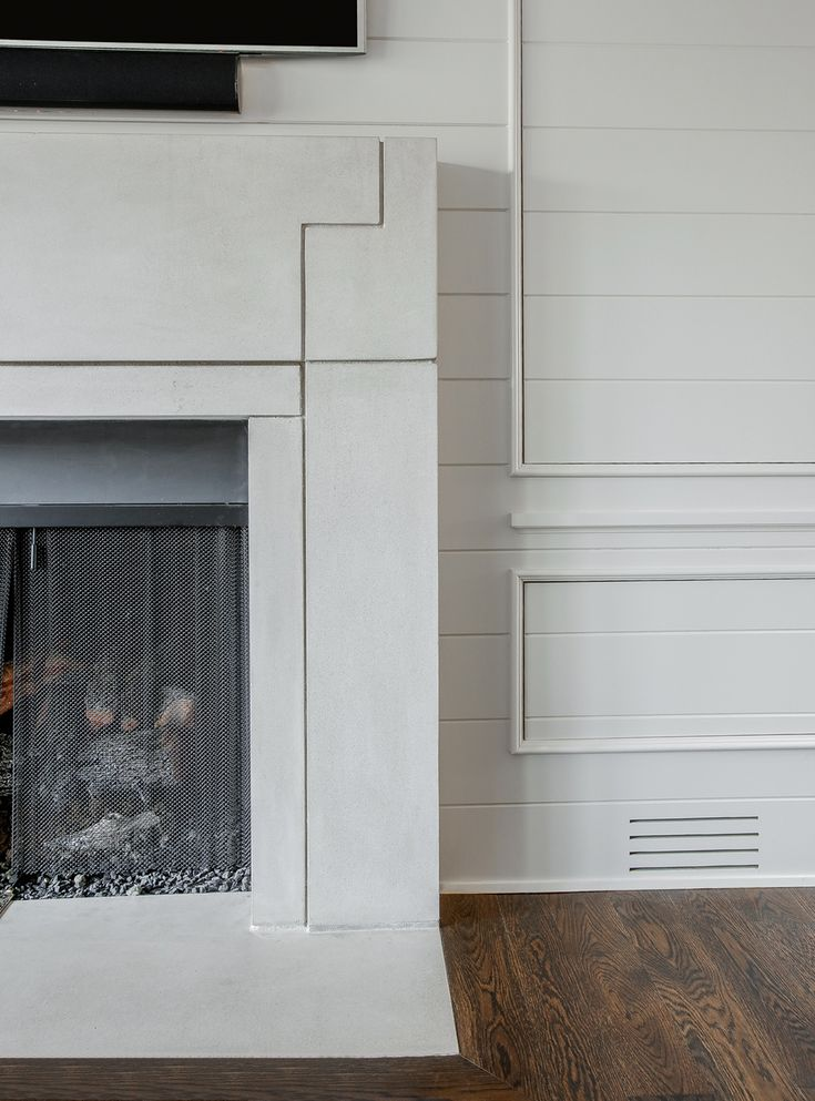 Fireplace Wall Flush Wall With Glass Tile And Metal: Fireplace Details, Flush Hearth, Stone Surround, Boarded