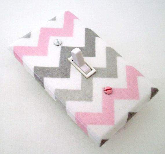 Chevron Light Switch Cover - Pink and Grey Nursery Decor - Girls Nursery - Decorative Switchplate - Chevron Decor - Girls Bedroom Baby Room