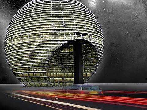 Rem Koolhaas   Design for Dubai business office. Not based on Star Wars death star as you'd imagine, but on 1970's Panasonic Japanese radio