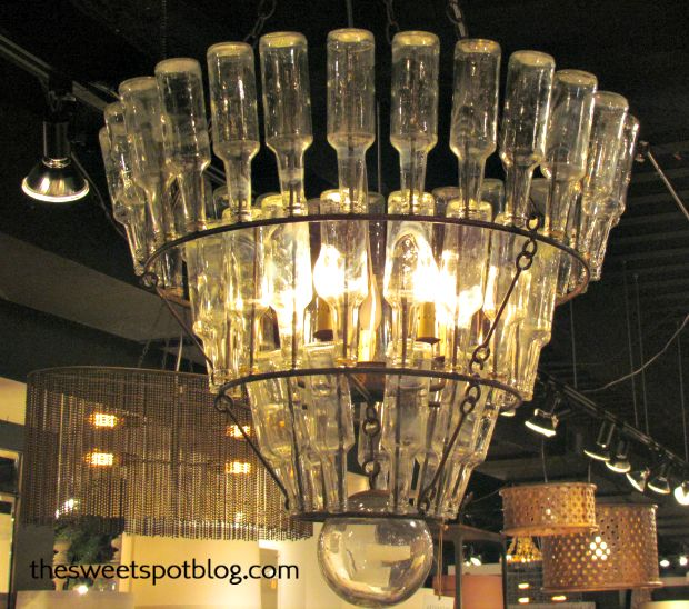 Industrial Chandelier: repurposed bottles make for excellent lighting  http://thesweetspotblog.com/industrial-lamps-and-chandeliers/