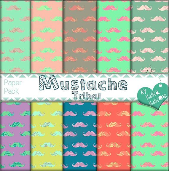 Mustache Tribal  Pattern V.2 Digital Papers... scrapbooking paper,Printable,18 jpg files   - INSTANT DOWNLOAD