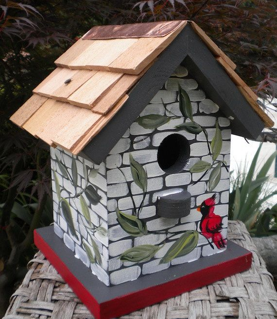 Cardinal and Vines Hand Painted Bird House by catherineklassen