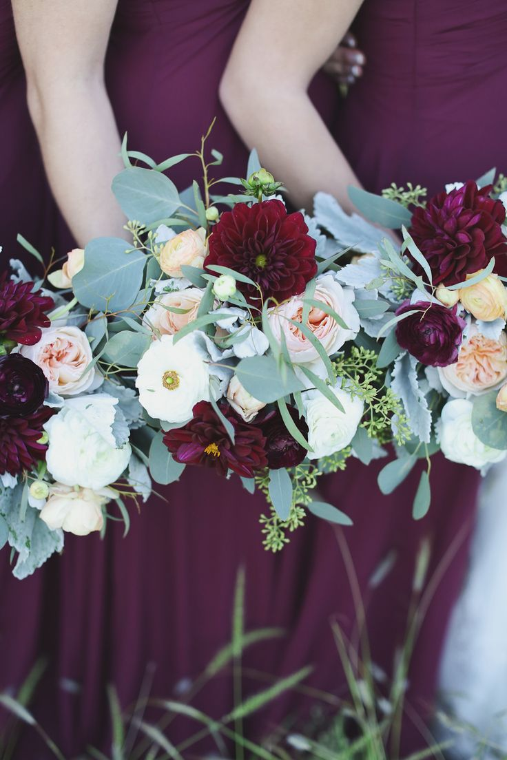 Red Gerbera Daisies, Peonies, Eucalyptus, and Dusty Miller #bouquet.   Photography: Forever Photography Studio - www.foreverphotographystudio.com  Read More: http://www.stylemepretty.com/2014/07/07/rustic-elegant-wedding-at-the-vineyards-at-chappel-lodge/