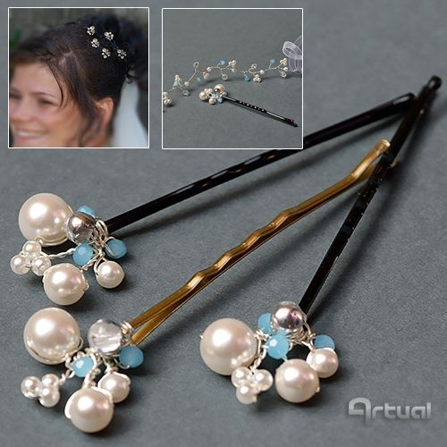 Set of 5 bridal hair pins with white rice beads and blue faceted glass bead via Artual jewelry. Click on the image to see more!