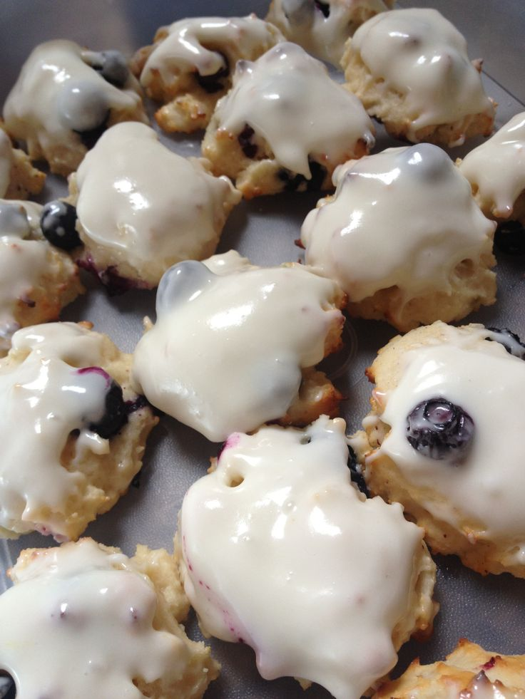 Greek yogurt blueberry cookies with lemon cream cheese icing made from ...