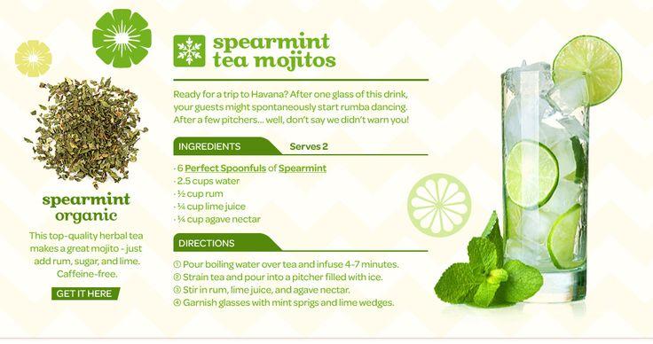 Spearmint Tea Mojitos - Ice Spearmint tea infused mojito rum, lime juice and agave | DavidsTea - Tea Recipes