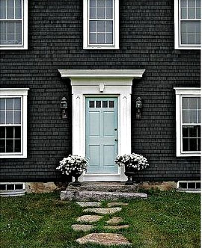 Dark Gray Exterior Light Blue Door Dreamy Exterior