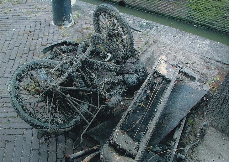 В Голландии очень много каналов и очень много велосипедов. Иногда велосипеды падают в каналы. Их иногда достают Иногда не торопятся убирать с набережной, чтобы проходящие мимо задумались глядя на причудливо покрытый ракушками велосипед о необычных поворотах жизни, разных стихиях...да мало ли о чем. Велосипед, который достали из канала, становится источником философского отношения к жизни и напоминанием о ее мимолетности.