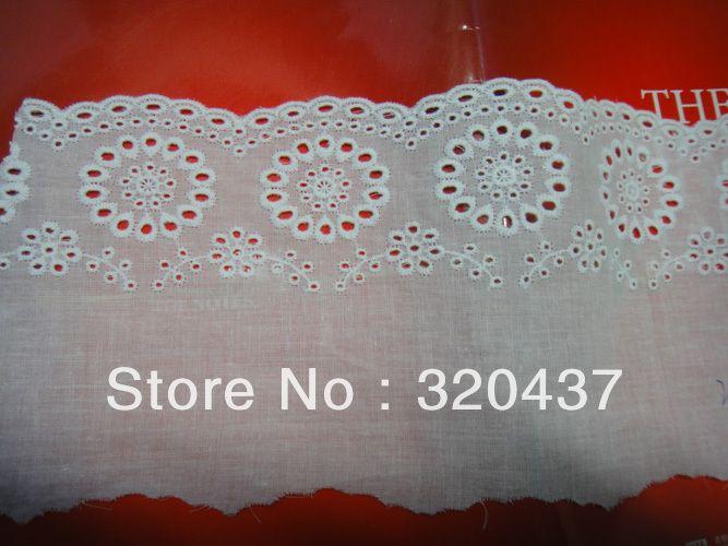 Хлопок аппликация кружева аппликация 100% хлопок ушко вышивка ткани 12.5 см