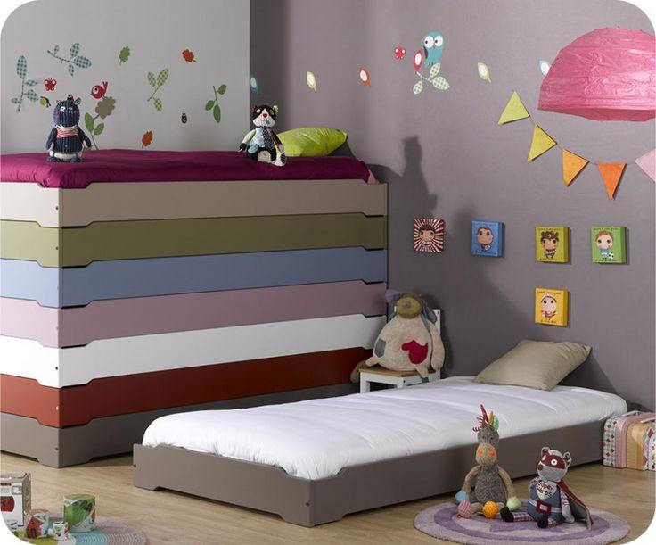 Stapelbares Kinderbett taupe mit Lattenrost Kinderbetten Stapelbare Kinderbetten