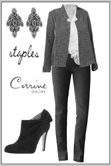 Staples Clothing, made in the USA. Tweed Swing Jacket, Black Stretch Jeans. www.Corrineonline.com
