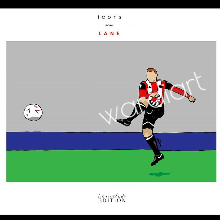 John Fleck print from the 'icons of the Lane' range by Sheffield United club artist wardi   See shop at www.wardiart.com for all pieces