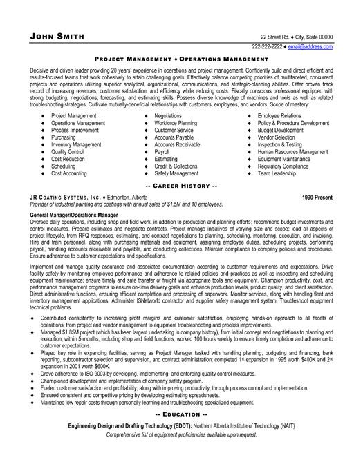 Sample Resume Project Manager Position