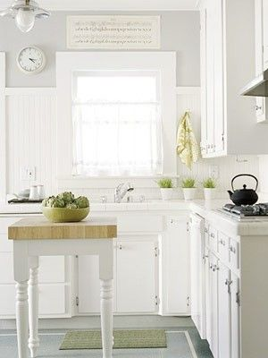 white kitchen with THESE light grey walls and (butcher block counter tops?)