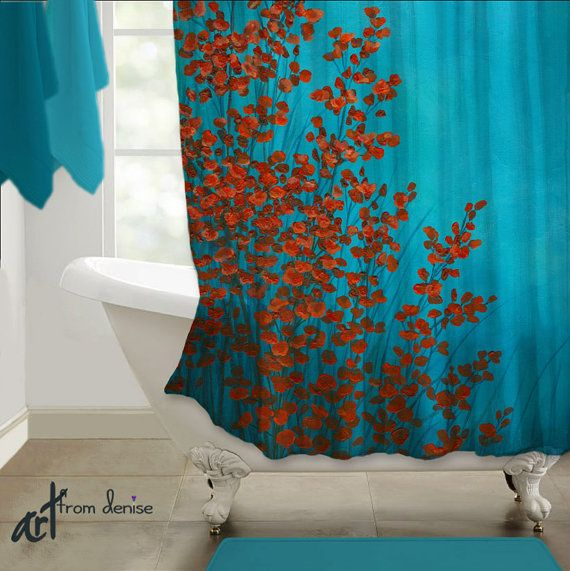 red and navy shower curtain. 166 best Colors Red  Aqua Teal Turquoise Robin s Egg Blue Home Decor images on Pinterest and turquoise