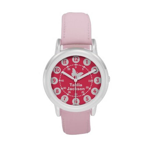 latest sale my kids girls pink white wrist watch great personalised gift for a child as you. Black Bedroom Furniture Sets. Home Design Ideas