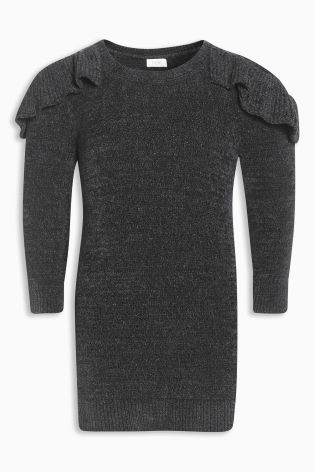 Buy Grey Frill Detail Chenille Jumper Dress (3mths-6yrs) from the Next UK online shop