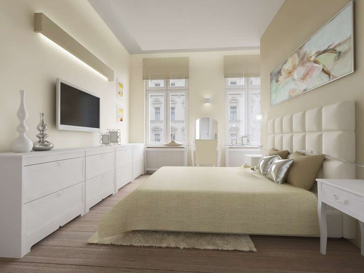 Jasna sypialnia w stylu Glamour.