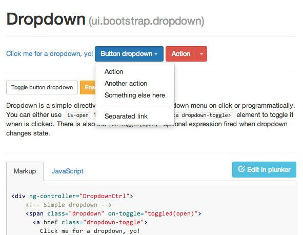 Example section from the AngularUI Bootstrap team's site shown their dropdown usage