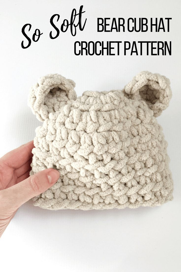The softest baby bear hat crochet pattern yet! The bear hat is made with plush thick yarn making it a quick project. A beginner friendly crochet pattern. Baby hat crochet patterns.
