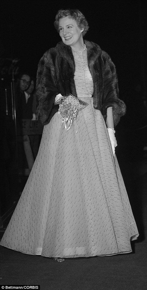Shirley Booth's grey dress with chiffon overlay was by an unknown designer in 1953