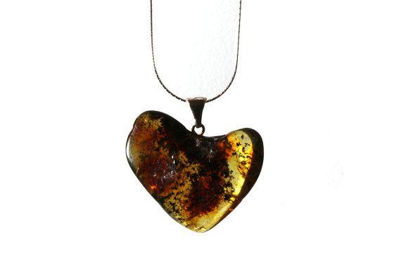Heart shaped Baltic Amber pendant Big cognac by HeymesBalticAmber, $79.00