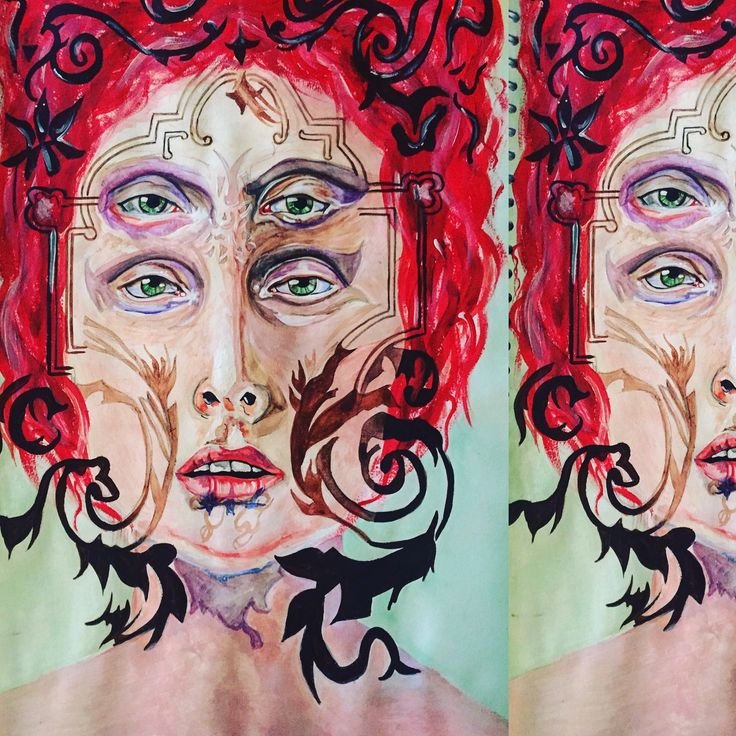 My 3rd distorted portrait painting inspired by the artist Alex garant.
