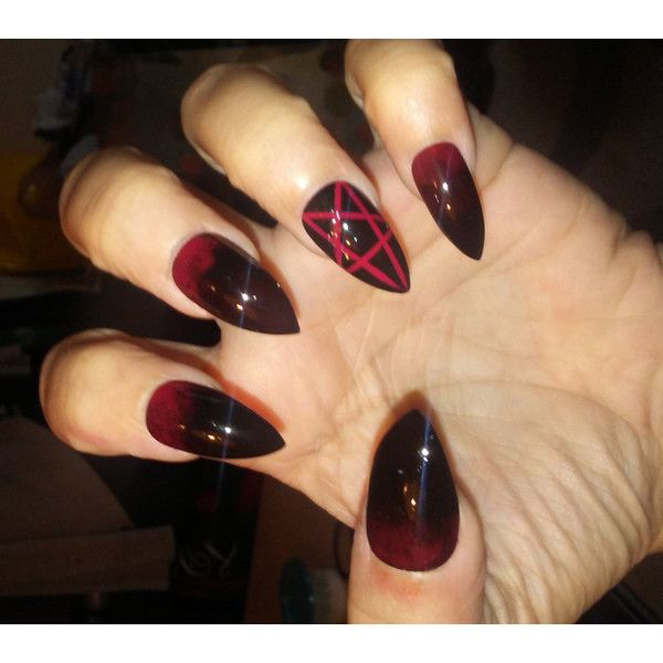 Gothic Stiletto Pentagram Nails Black Red Long Or Short Acrylic 22 Liked On Polyvore Featuring Costumes R Red Acrylic Nails Goth Nails Gothic Nails