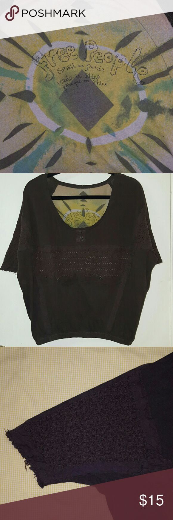 Free People Boxy Top FP vintage boxy knit top. Size small and brown in color. It is brown all around but the inside back has a free people colorful design.  Has some crochet detail on sleeves and in the front where 2 front pockets are located. Used with no holes or snags and still has lits of life left.  Super cute!! Free People Tops