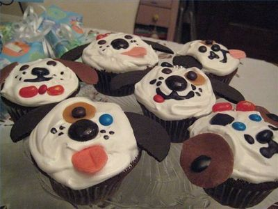 Dog Theme Party Ideas - puppy cupcakes, pin-the-tail on the doggy, face-painting