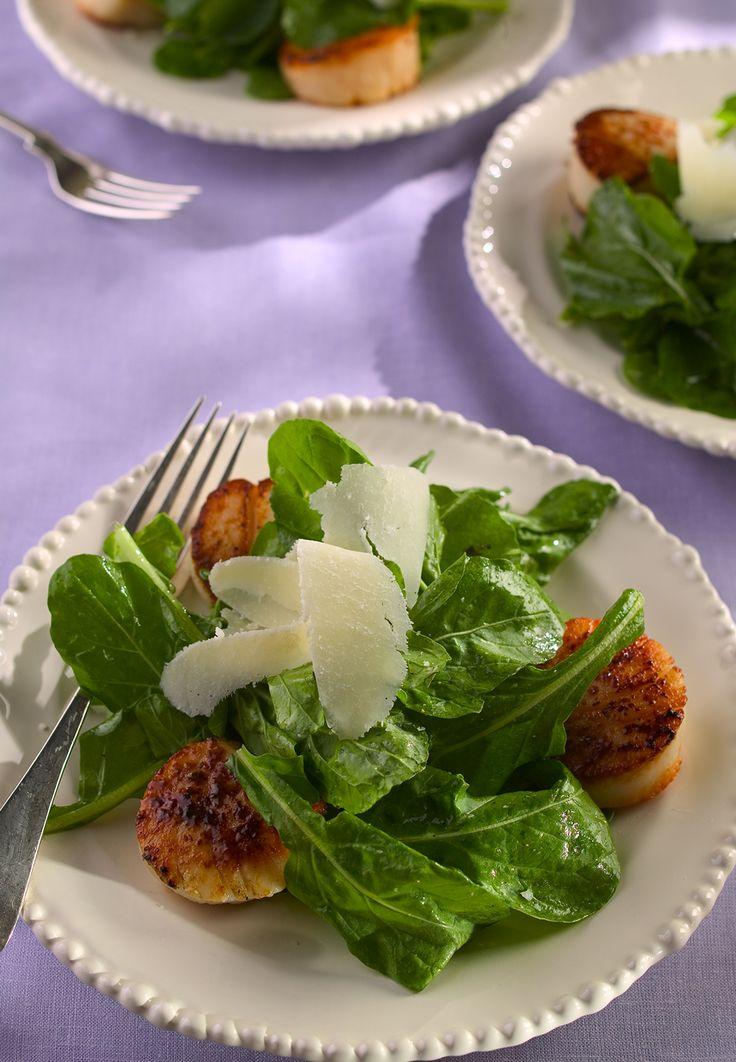 Seared Scallops With Lemony Farro And Arugula Salad Recipe ...