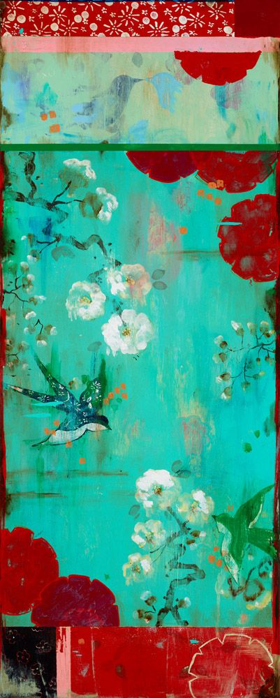 """Kathe Fraga Art, www.kathefraga.com """"Lovebirds"""", inspired by the romance of vintage French wallpapers and Chinoiserie with a modern twist. 40x16 on frescoed canvas."""