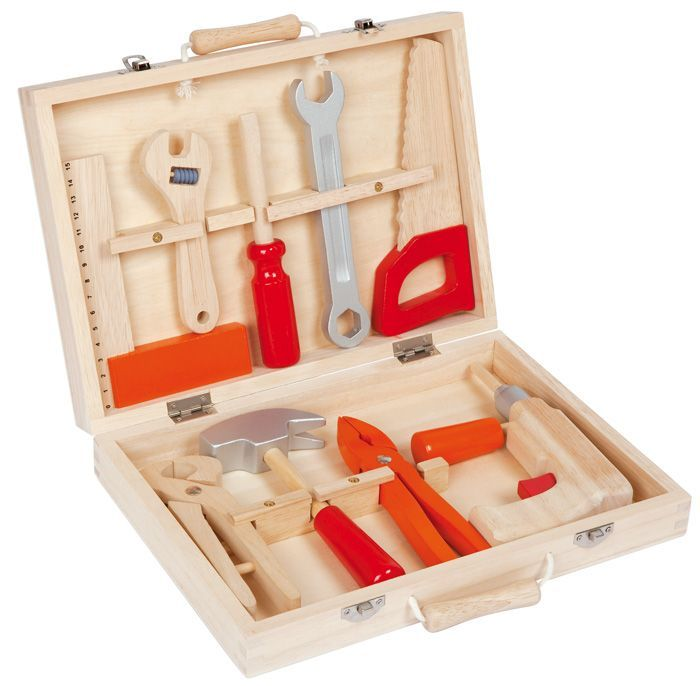 An absolute must have for all those budding builders out there! A gorgeous 9 peice wooden tool kit complete in a solid wooden case. This is a toy taht willlast and remain in the family for years!